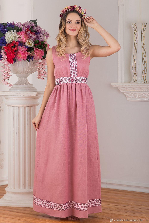Розовое Льняное Платье