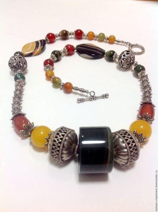 Колье бусы из натуральных агатов  Восточный базар. Стиль восточная этника. Авторское украшение. Handmade necklace.