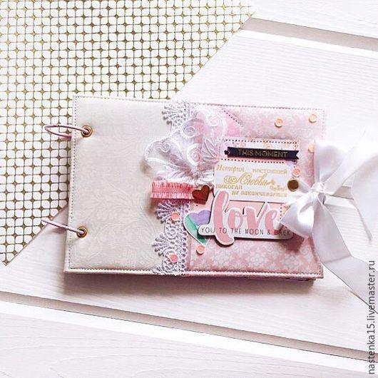Фотоальбомы ручной работы. Ярмарка Мастеров - ручная работа. Купить Свадебный альбом. Handmade. Розовый, скрап, москва, ткань