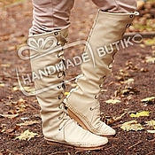 Обувь ручной работы handmade. Livemaster - original item Boots-Boots of leather with lacing Milk. Handmade.