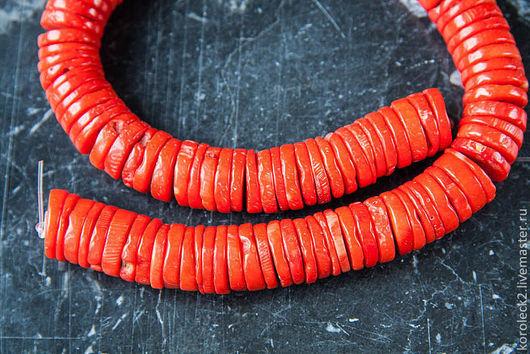 Для украшений ручной работы. Ярмарка Мастеров - ручная работа. Купить Коралл оранжевый, крупные бусины диски. Handmade. Оранжевый