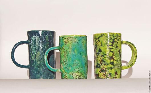 Кружки и чашки ручной работы. Ярмарка Мастеров - ручная работа. Купить Краклекружки. Handmade. Зеленый, Керамика, подарок мужчине