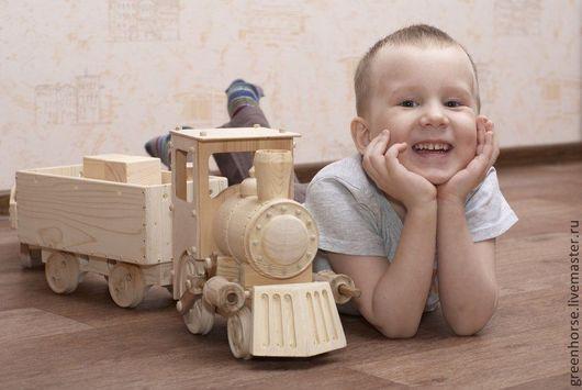 Техника ручной работы. Ярмарка Мастеров - ручная работа. Купить Паровоз деревянный, с вагонами. Handmade. Бежевый, техника, подарок для мальчика