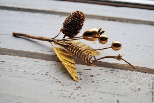 Материалы для флористики ручной работы. Ярмарка Мастеров - ручная работа. Купить Букетик с еловой шишкой, золотой, 13,5 х3х2,5см. Handmade.