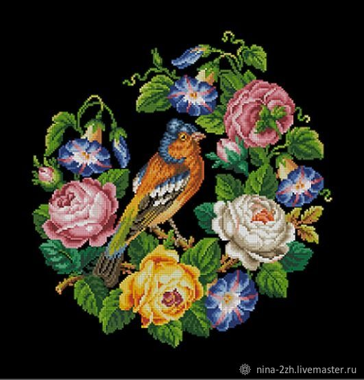 The scheme for embroidery: Finch in a wreath of roses, Patterns for embroidery, Penza,  Фото №1
