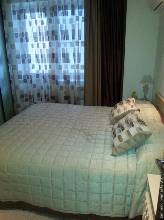 Текстиль, ковры ручной работы. Ярмарка Мастеров - ручная работа. Купить Шторы + Покрывало 2,75х2,90 двустороннее. Беж/шоколад. Handmade.