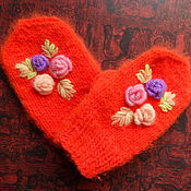 Работы для детей, ручной работы. Ярмарка Мастеров - ручная работа Варежки для малышки Нежные розы. Handmade.