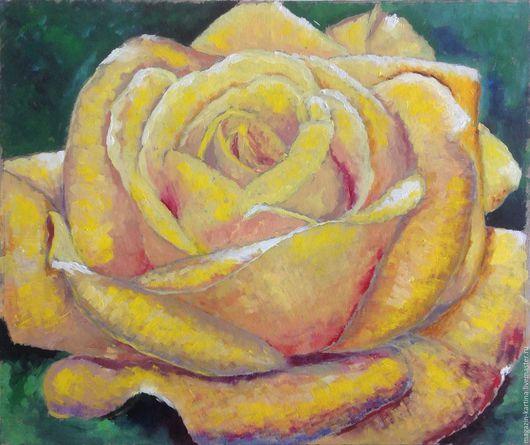 Картины цветов ручной работы. Ярмарка Мастеров - ручная работа. Купить Картина маслом Желтая роза. Handmade. Роза