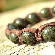 Украшения handmade. Livemaster - original item Shamballa bracelet leather stone serpentine. Handmade.