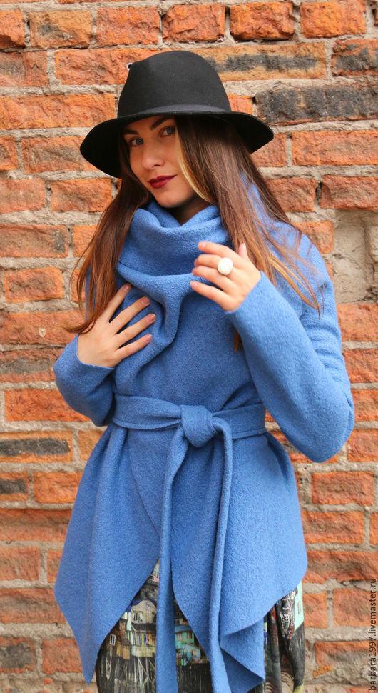Верхняя одежда ручной работы. Ярмарка Мастеров - ручная работа. Купить Легкое пальто-кардиган СOZY голубое. Handmade. Голубой