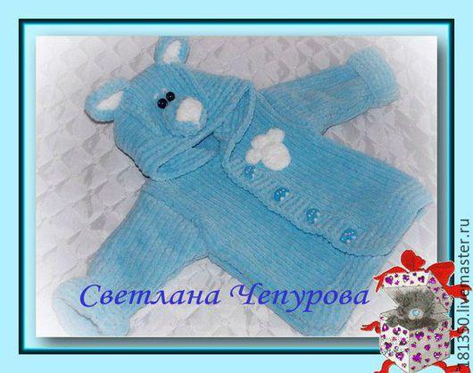"""Для новорожденных, ручной работы. Ярмарка Мастеров - ручная работа. Купить Плюшевая кофта """"Мишка"""".. Handmade. Голубой, вязание для детей"""
