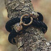 Украшения handmade. Livemaster - original item Bear Bracelet | Bronze / Genuine Leather. Handmade.
