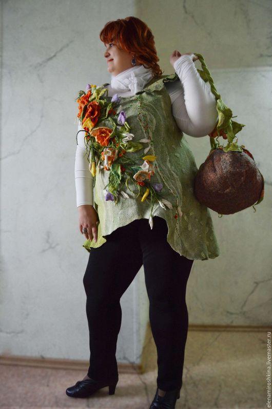 """Большие размеры ручной работы. Ярмарка Мастеров - ручная работа. Купить Туника """"Первоцвет"""" валяная. Handmade. Салатовый, большие размеры"""
