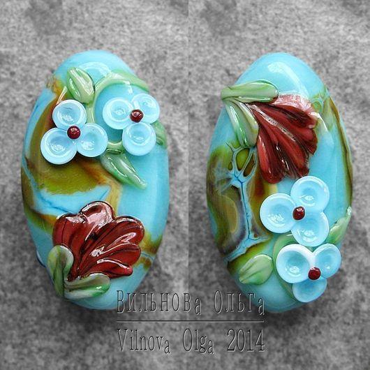 Для украшений ручной работы. Ярмарка Мастеров - ручная работа. Купить Бусины-Клумбы лэмпворк с рельефный цветочным декором. Handmade.