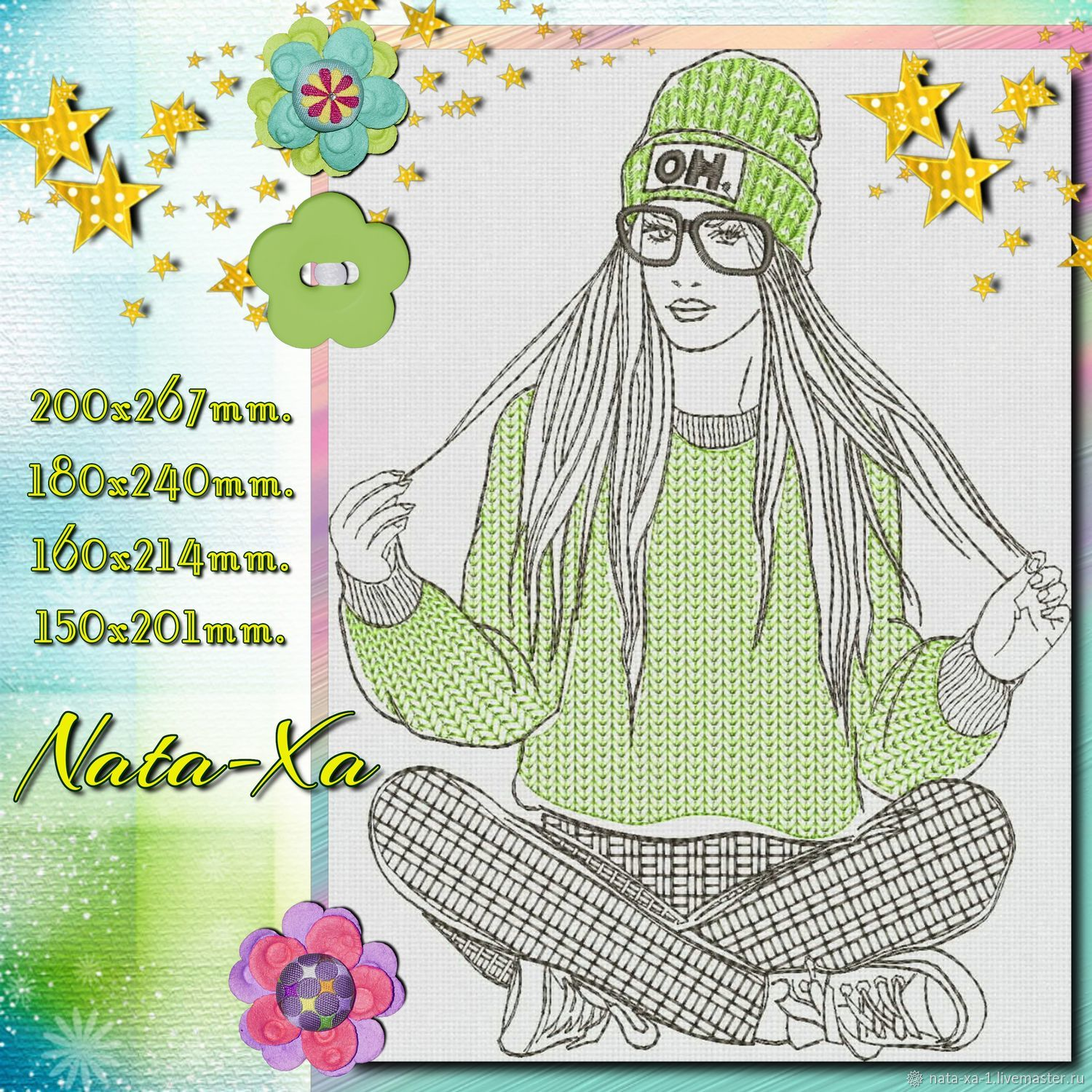 FASHIONABLE GIRL. Design in machine embroidery, Embroidery tools, Solikamsk,  Фото №1