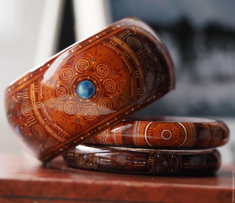 браслет с росписью, браслет роспись по дереву, браслет деревянный роспись, браслет ручная роспись, украшение роспись, коричневый браслет, этно-стиль