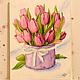 Картины цветов ручной работы. Картина акварелью Розовые тюльпаны. Саркулова Тамара. Интернет-магазин Ярмарка Мастеров. Тюльпаны