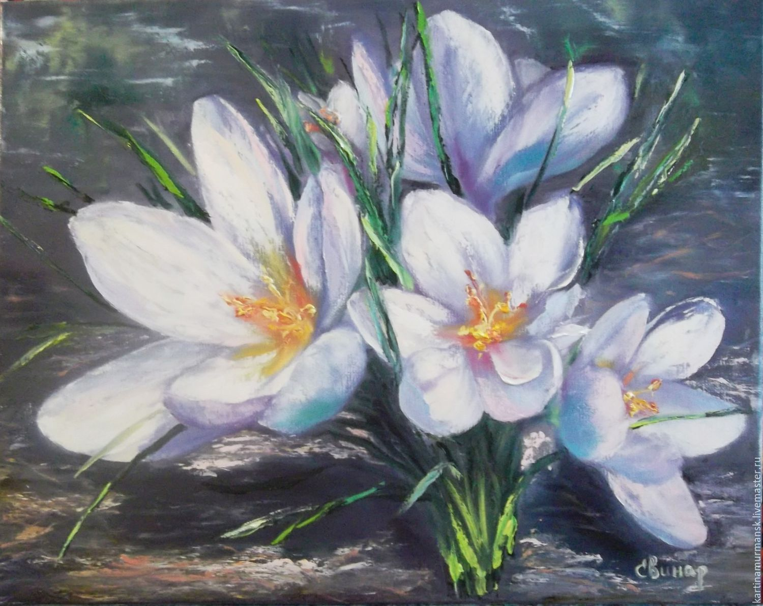 Oil painting spring flowers 40 50 snowdrops shop for Flower paintings on canvas