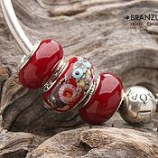Украшения handmade. Livemaster - original item Joy - set 3 beads charm lampwork - red gray black - silver plated core. Handmade.