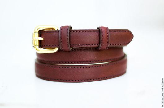 Пояса, ремни ручной работы. Ярмарка Мастеров - ручная работа. Купить Кожаный ремень под джинсы (бордовый). Handmade. Ремень