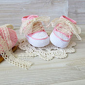 Работы для детей, handmade. Livemaster - original item booties shoes knitted shoes booties for baby girl gift for birth. Handmade.