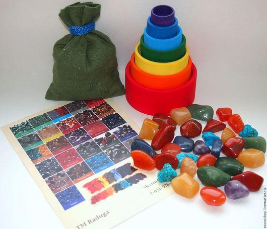 Развивающие игрушки ручной работы. Ярмарка Мастеров - ручная работа. Купить Акция. Деревянные стаканчики-сортер с самоцветами. Handmade. камни
