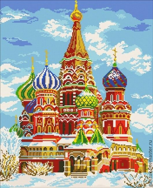 Схема для вышивки  бисером полной зашивкой Храм Василия Блаженного