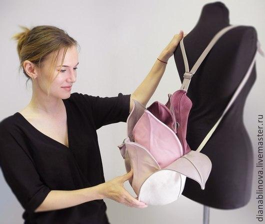 Женские сумки ручной работы. Ярмарка Мастеров - ручная работа. Купить рюкзак Лотос. Handmade. Бледно-сиреневый, натуральная кожа