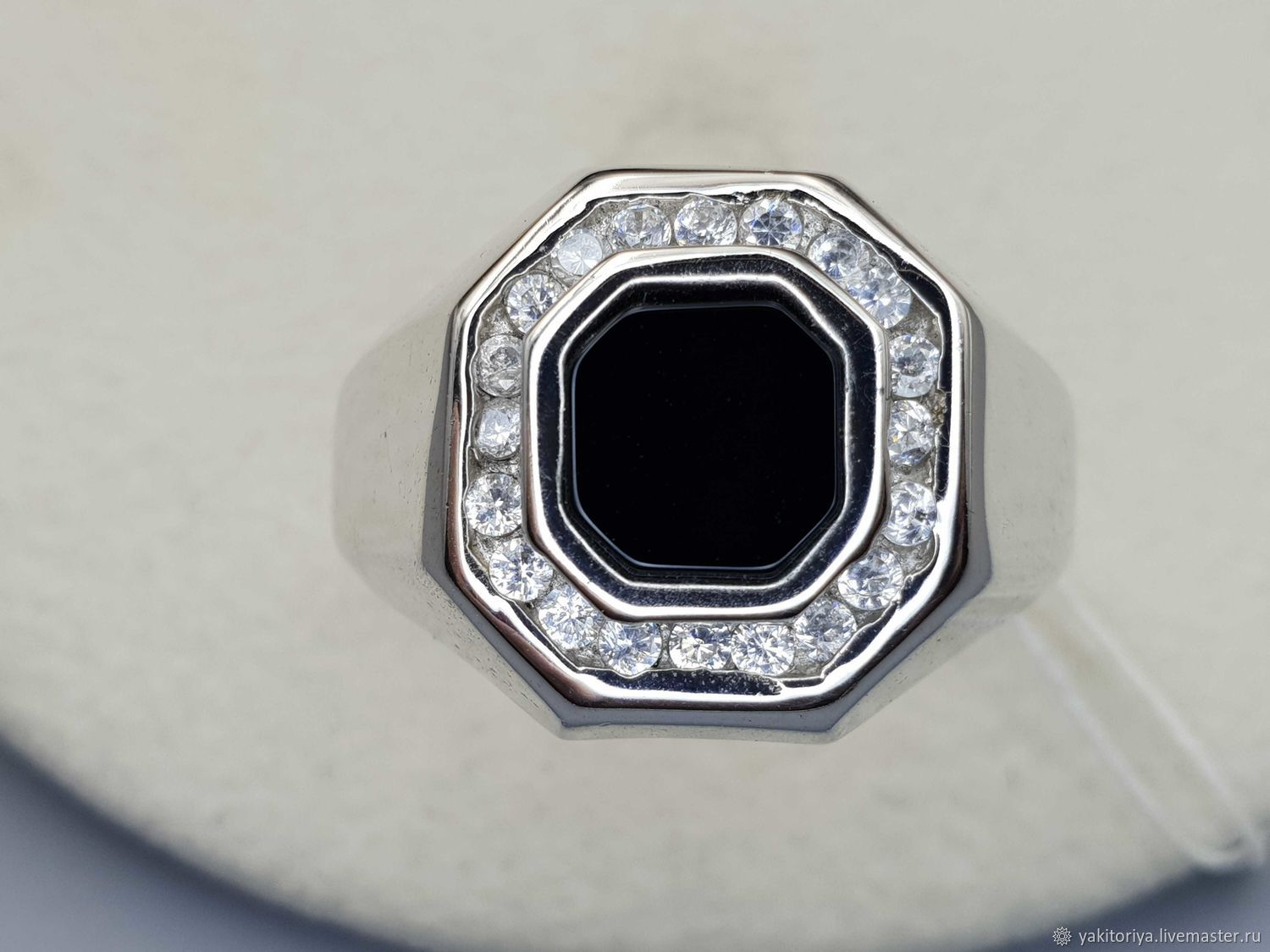 Silver ring with black onyx 8h8 mm and cubic zirconia, Rings, Moscow,  Фото №1