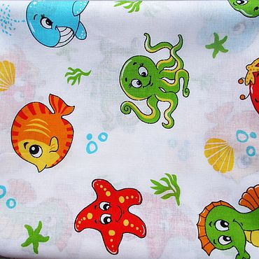 "Works for children handmade. Livemaster - original item Baby diaper ""Sea tale"" 95х120см cotton. Handmade."