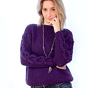 Одежда handmade. Livemaster - original item Knitted pullover viola. Handmade.