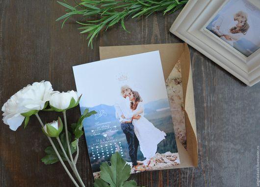 Свадебные аксессуары ручной работы. Ярмарка Мастеров - ручная работа. Купить Свадебные приглашения на Вашей фотографии, С календарем. Handmade.