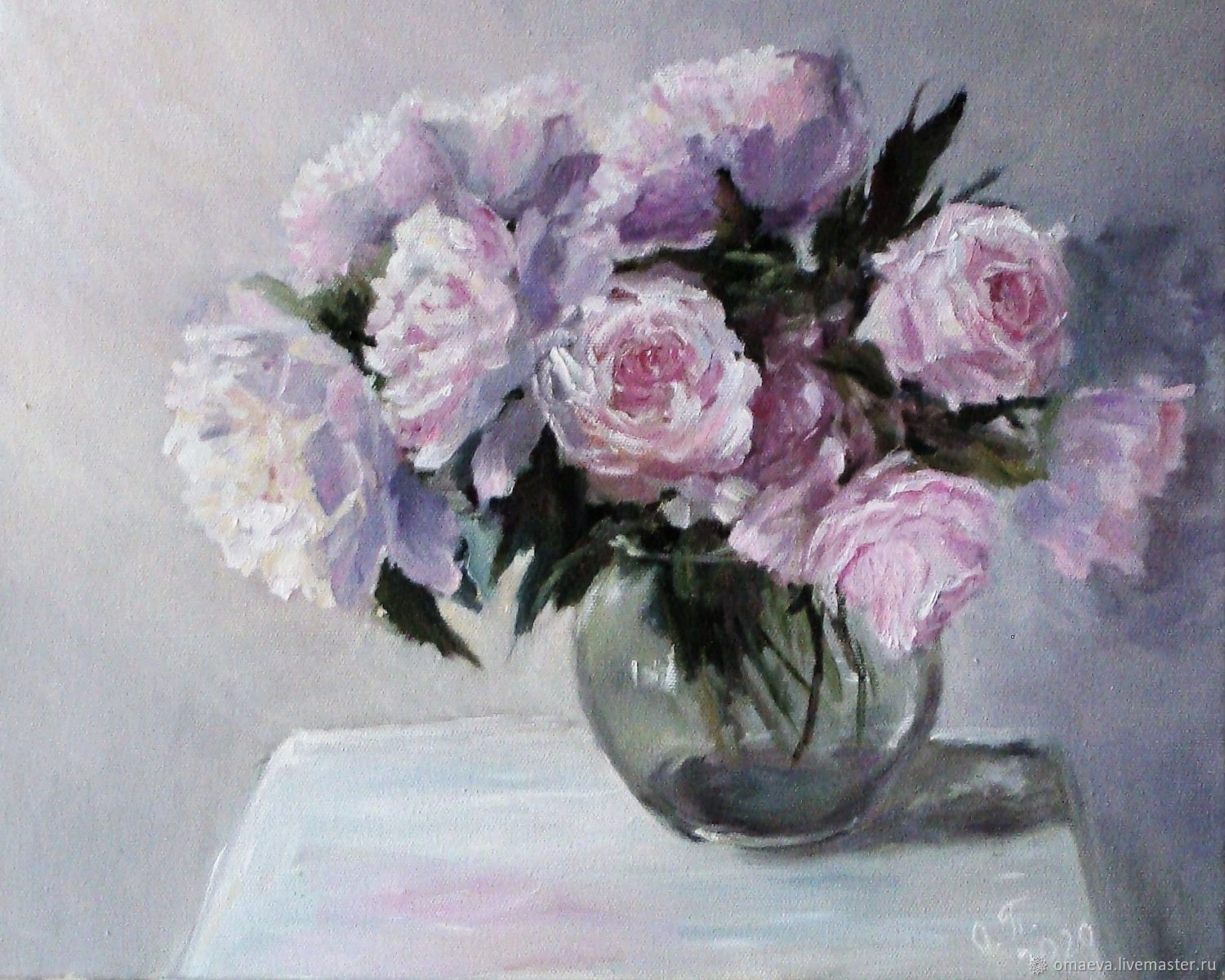 Oil painting ' Roses and peonies', Pictures, Nizhny Novgorod,  Фото №1