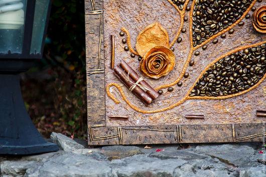 Картины цветов ручной работы. Ярмарка Мастеров - ручная работа. Купить Кофейное арома-панно. Handmade. Разноцветный, уютный дом