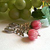 Украшения handmade. Livemaster - original item Earrings lampwork with rose flower. Handmade.