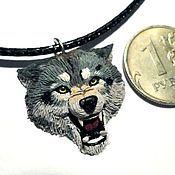 Украшения ручной работы. Ярмарка Мастеров - ручная работа Кулон из полимерной глины в виде головы Волк. Handmade.