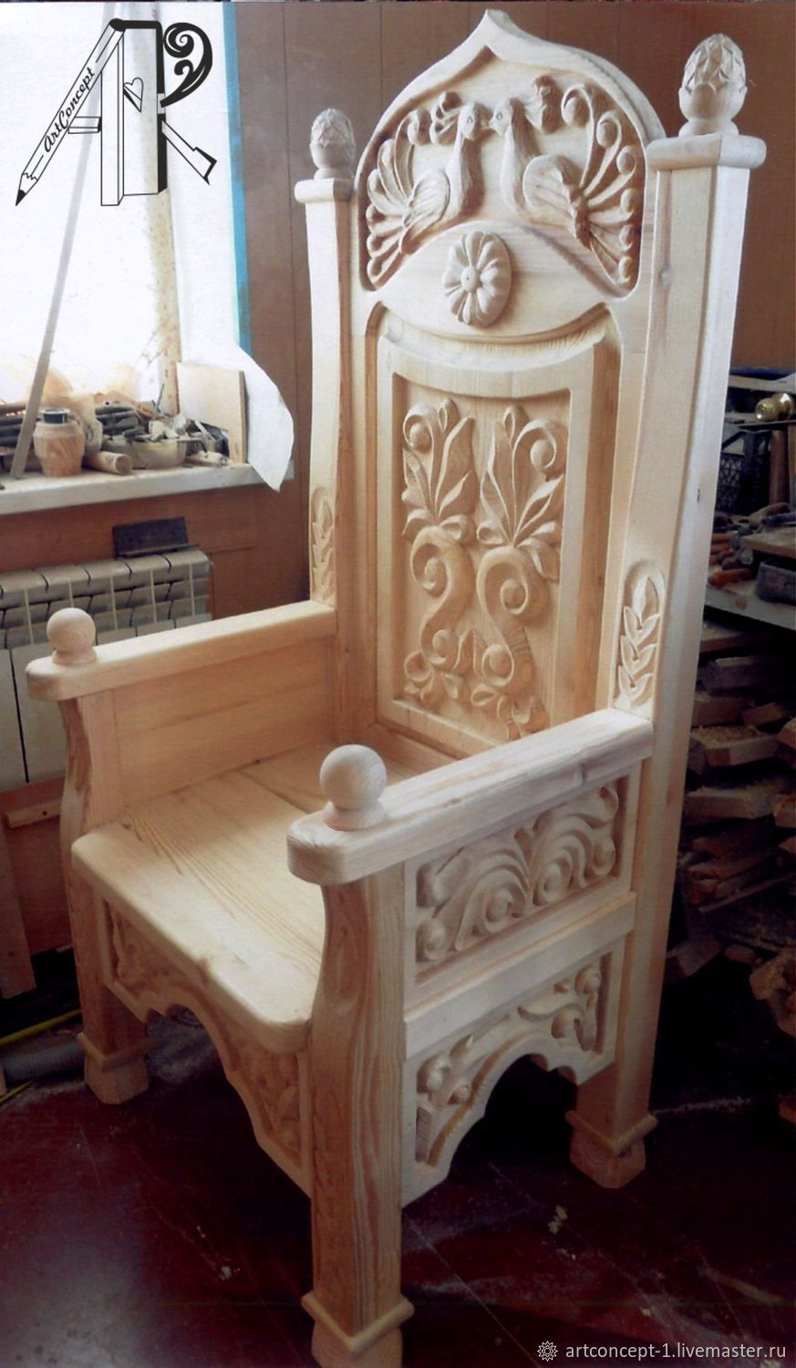 Chair throne from the array in folk style 'Firebird' carving, Chairs1, Ryazan,  Фото №1