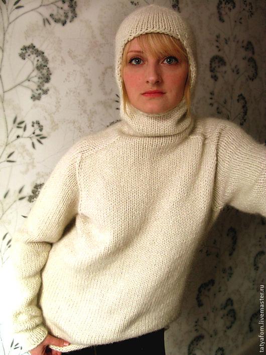 """Кофты и свитера ручной работы. Ярмарка Мастеров - ручная работа. Купить Унисекс свитер """"Кокон"""" бесшовный. Handmade. Белый, унисекс"""