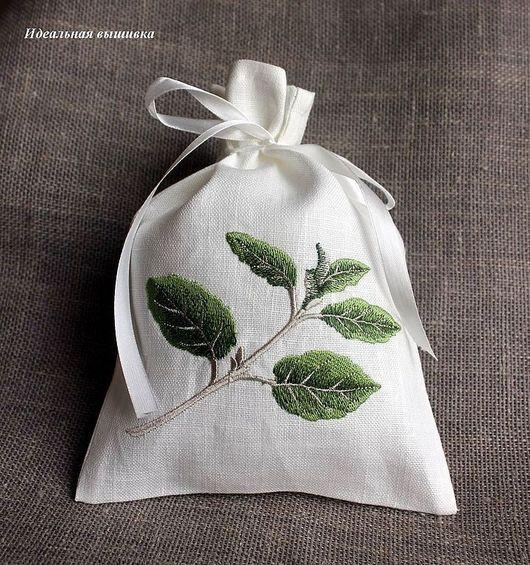 """Кухня ручной работы. Ярмарка Мастеров - ручная работа. Купить Льняной мешочек """"Кухонные травы - Базилик"""". Handmade. Ярко-зелёный"""
