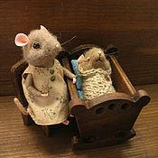 Куклы и игрушки ручной работы. Ярмарка Мастеров - ручная работа Мышка с мышонком.Миниатюра. Handmade.