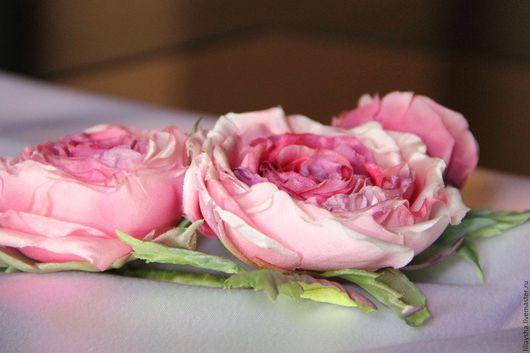 """Заколки ручной работы. Ярмарка Мастеров - ручная работа. Купить Украшение из шелка """"Веточка из роз"""". Handmade. Розовый, свадебное украшение"""