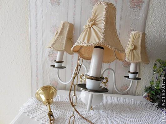 Винтажные предметы интерьера. Ярмарка Мастеров - ручная работа. Купить Потолочная лампа, светильник, люстра, 50-е годы, Шебби шик. Handmade.