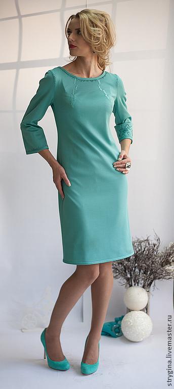 Платья ручной работы. Ярмарка Мастеров - ручная работа. Купить Платье Sole gelido. Handmade. Тёмно-бирюзовый, ручная вышивка