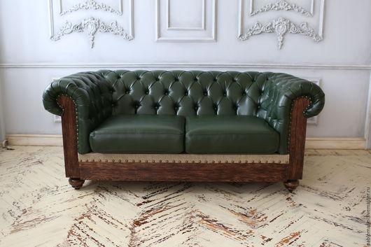"""Мебель ручной работы. Ярмарка Мастеров - ручная работа. Купить Честер в стиле """"LOFT"""". Handmade. Тёмно-зелёный, диван, кожа"""
