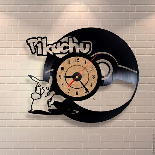 """Часы для дома ручной работы. Ярмарка Мастеров - ручная работа. Купить Часы из пластинки """"Picachu"""". Handmade. Picachu, покемон, комбинированный"""