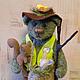 Мишки Тедди ручной работы. Ярмарка Мастеров - ручная работа. Купить Лесовичок. Handmade. Тедди, зеленый, заяц, гнездо, ковролин