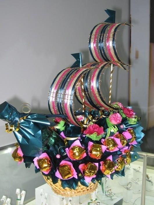 Подарки для мужчин, ручной работы. Ярмарка Мастеров - ручная работа. Купить Корабль из конфет Корабль из конфет подарок Корабль из конфет с парус. Handmade.