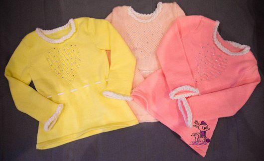 Одежда для девочек, ручной работы. Ярмарка Мастеров - ручная работа. Купить Туника вязаная для девочки (кофта вязаная). Handmade. Розовый
