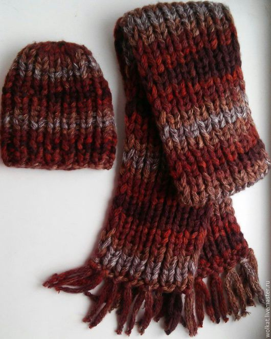 Комплект, шапка и шарф, мастерская Woolcat