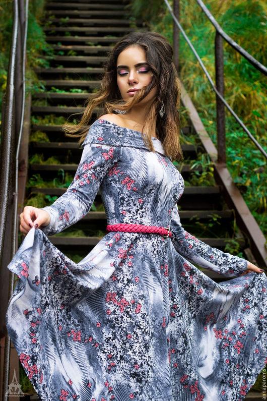 Платья ручной работы. Ярмарка Мастеров - ручная работа. Купить Платье из джерси. Handmade. Цветочный, юбка солнце, романтический стиль